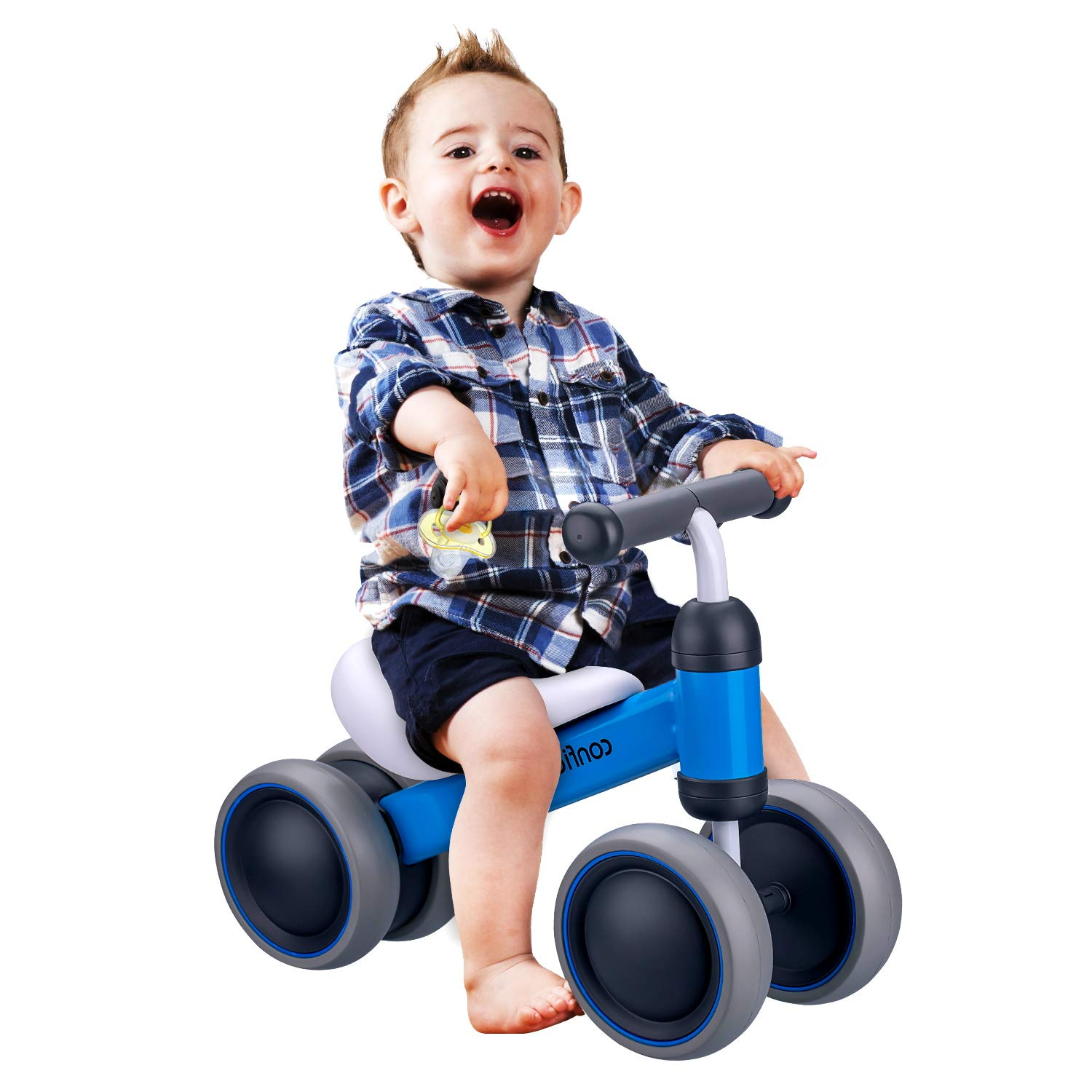 BonBonBrothers Baby Balance Bike, Sturdy Balance Bike Bicycle 6-24 Months, Cute Balance Bike for Toddler with 4 Wheels, Ideal Gift Choice for First Birthday - Blue