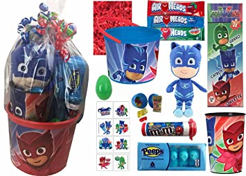 PJ Masks Easter Basket Gift Set with Candy and Toys For Girls or Boys (12