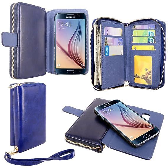 new arrival 08db4 d0953 S6 Case, Galaxy S6 Case, Cellularvilla Galaxy S6 [wallet bag] Case, Pu  Leather Flip [7 Card Slots] [Purse] Case, [Zipper Wallet] [Magnetic  Detachable] ...