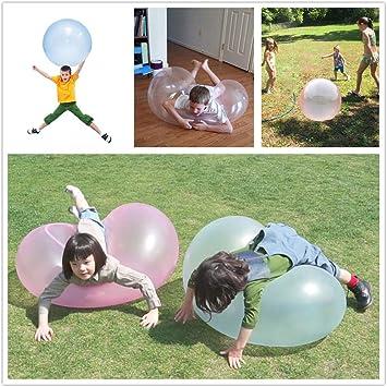 Bola Burbujas Inflable de Agua Gigante Globo Infantil en Piscina Playa Pelota Transparente Goma Hinchable de Juguete Llena de Agua y Aire en Verano en Fiestas Aire Libre para Niños y Adultos: