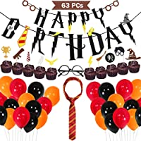 Harry Potter Birthday Party Supplies Cupcake Toppers Novelty Glasses Striped Tie Happy Birthday Banner Balloons Harry Potter Themed Party Favors Decorations