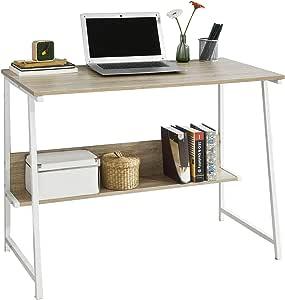 SoBuy FWT34-N, Mesa de Ordenador con 2 estantes,Mesa de Escritorio ...