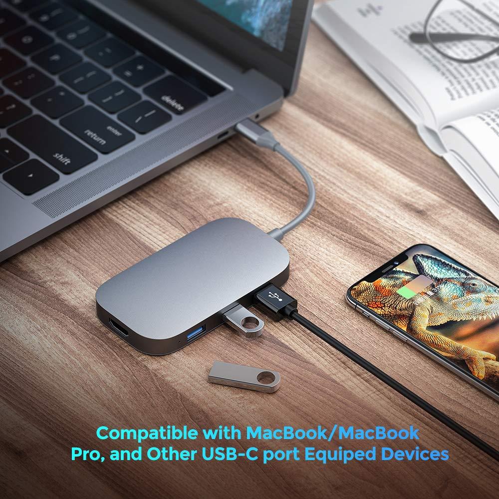 Hub USB C Adattatore da 8 Pollici in Alluminio Tipo C con Uscita HDMI 4K Compatibile con MacBook PRO 13e 15 2016//2017//2018 4 Porte USB 3.0 Alimentazione USB C Lettore di schede SD//TF