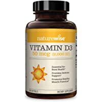 NatureWise Vitamin D3 2,000 IU for Healthy Muscle Function, Bone Health and Immune Support, Non-GMO, Gluten-Free in Cold…
