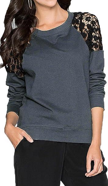 Jusfitsu Blusa para mujer a la moda de encaje y manga larga, camisa casual