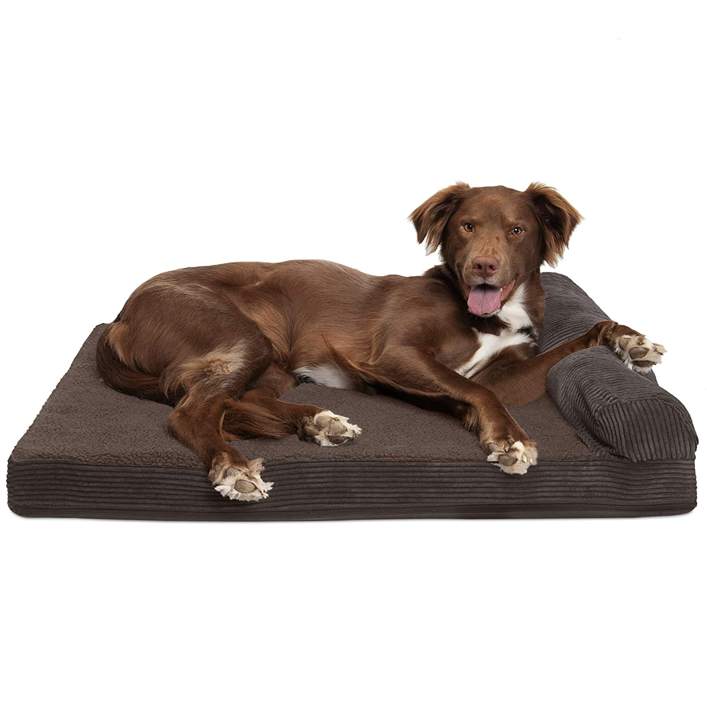 FurHaven Pet Dog Bed   Cooling Gel Memory Foam Orthopedic Faux Fleece & Corduroy Lounge Pet Bed for Dogs & Cats, Dark Espresso, Large
