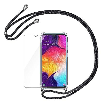 AROYI Funda para Samsung Galaxy A50 Silicona con Cuerda + Protector Pantalla, Transparente TPU Carcasa y Estuche Cubierta con Ajustable Collar Correa ...