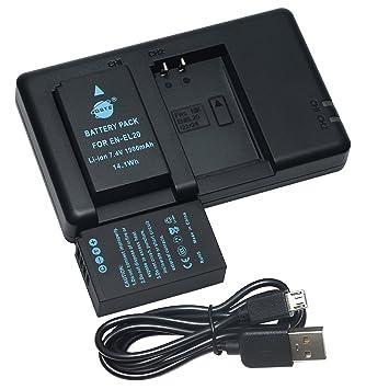 DSTE 2PCS EN-EL20 EN-EL20a(1900mAh/7.4V) Batería Cargador Compatible para Nikon 1 J1,Nikon 1 J2,Nikon 1 J3,Nikon 1 S1,Nikon 1 V3,Nikon Coolpix A,Nikon ...