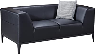 American Eagle Furniture Minimal Living Room Bonded Leather Upholstered Loveseat with Throw Pillow, Black