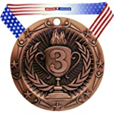 Decade Awards Place Medal World Class Medal - 3 Inch Wide Medallion with Stars and Stripes American Flag V Neck Ribbon