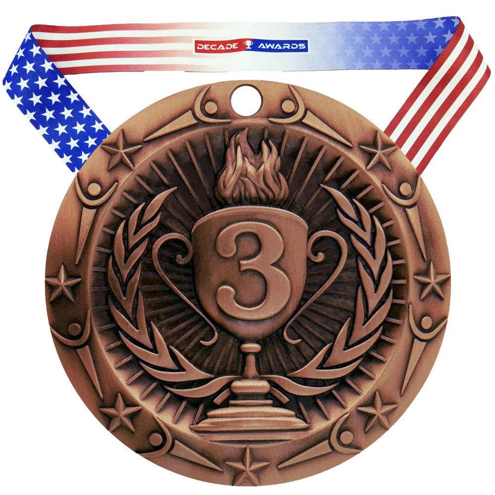 Decade Awards 1st 2nd 3rd Place Gold Silver Bronze World Class Medal - 3\' Wide Strong Metal - Comes with Exclusive Stars & Stripes American Flag V Neck Ribbon