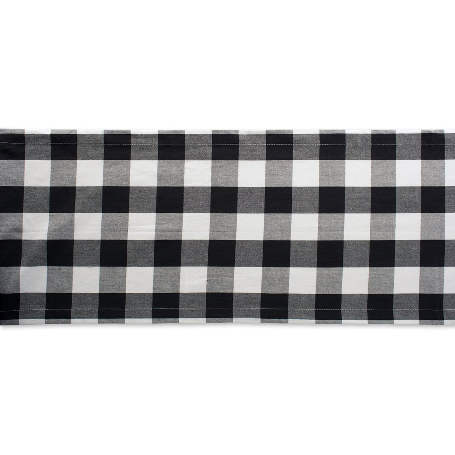 DII Cotton Buffalo Check Table Runner for Family Dinners or Gatherings, Indoor or Outdoor Parties, & Everyday Use (14x108'',  Seats 8-10 People), Black & White by DII (Image #3)