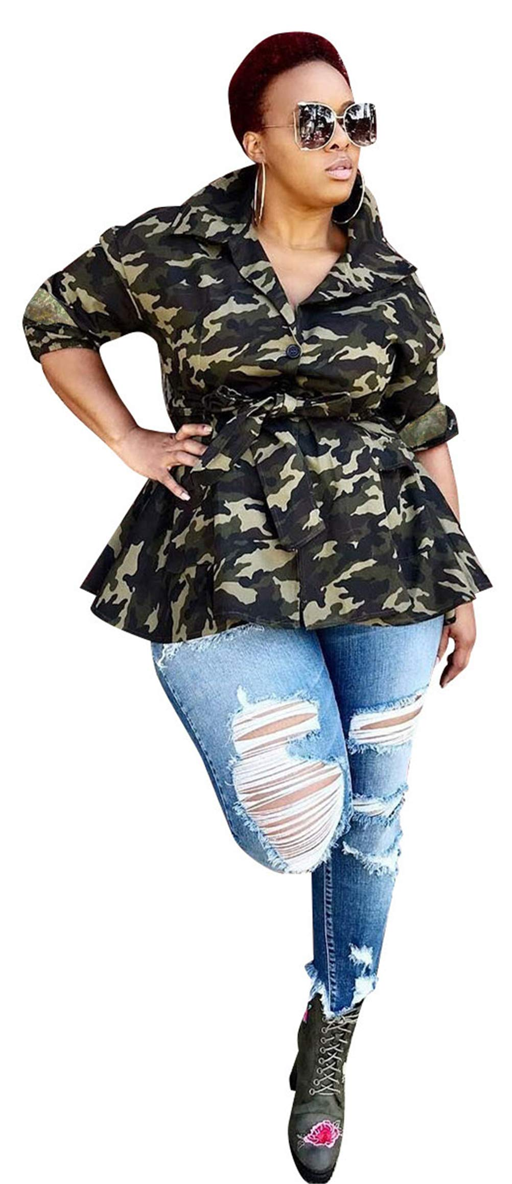 Recious Womens Sexy Lapel 3/4 Sleeve Camo Print Back Sequins Paneled Button Casual Coat Windbreaker Outwear