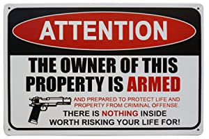 LASMINE Gun Sign, The Owner of This Property is Armed Sign Warning Protected Security Metal Sign Indoor Outdoor Plaque Farm Fresh Yard Tin 8X12Inch