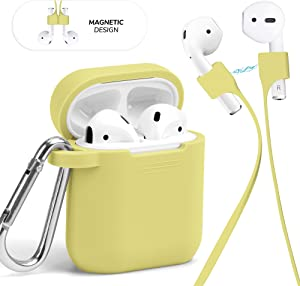 GMYLE AirPod Case Accessories Set, Protective Silicone Cover Skin with Keychain, Magnetic Strap Kit for Airpods Wireless Charging Bluetooth Earbuds Case, Compatible with Apple AirPods 1 & 2, Yellow