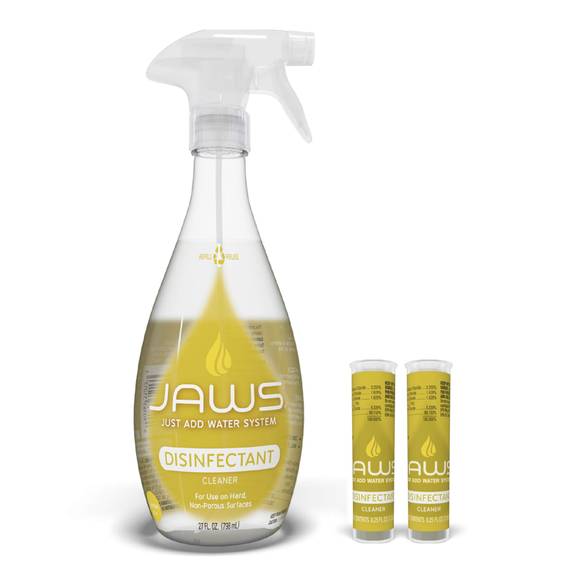 JAWS Cleaner, Disinfectant Spray with 2 Refill Pods, Powerful Multi-Purpose Cleaning, Refillable, Reusable, Recyclable