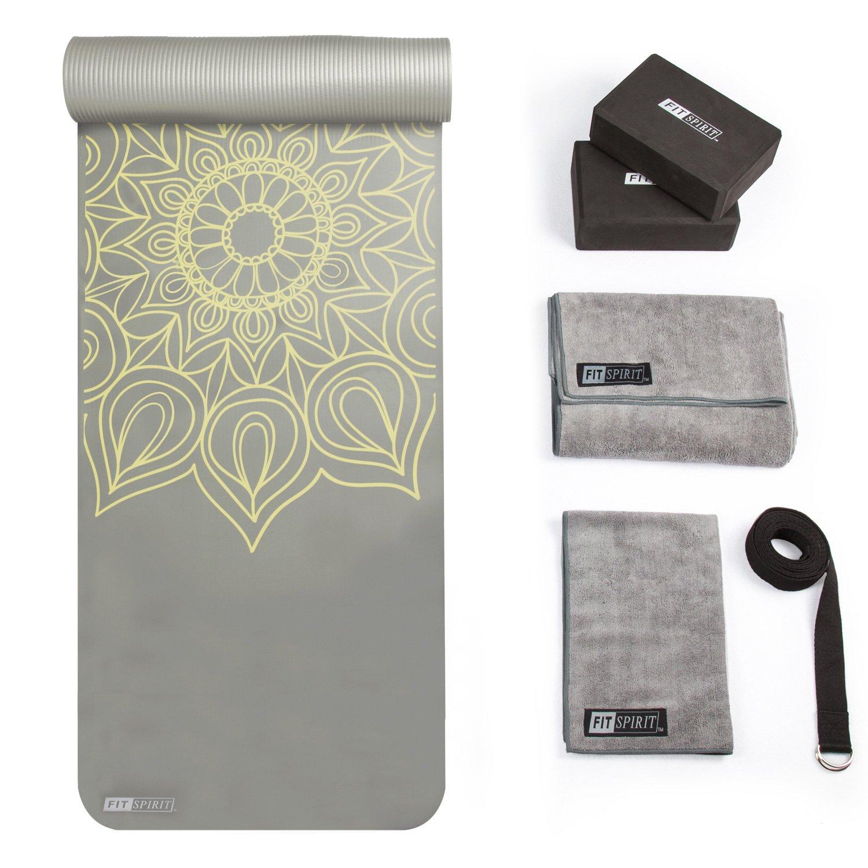 FIT SPIRIT Yoga Starter Set Kit - Includes 1/2'' Thick NBR Exercise Mat, Yoga Blocks, Yoga Towels, Yoga Strap/Gray Henna