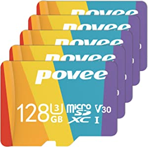 5 Pack of 128GB MicroSD Card with Adapter,U3 A1 MicroSDXC Card 667X High Speed Up to 100MB/s UHS-I Micro SD 128 GB UHS-1 Memory Card for Android Smartphone Nintendo Galaxy Fire and Gopro