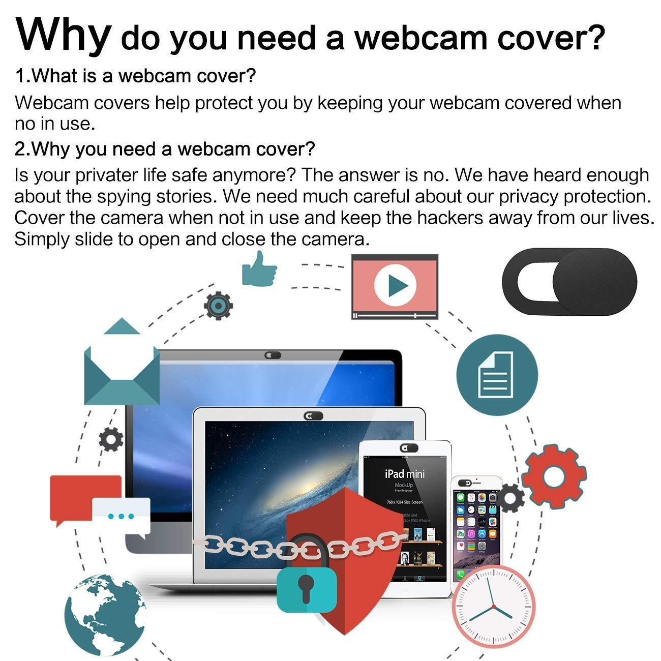 iVoler [3 Unidades] Cubierta Webcam, Webcam Cover Slider Diseño Ultra Fino Camera Cover Tapa Webcam para Todo Tipo de Ordenadores Portátiles, ...