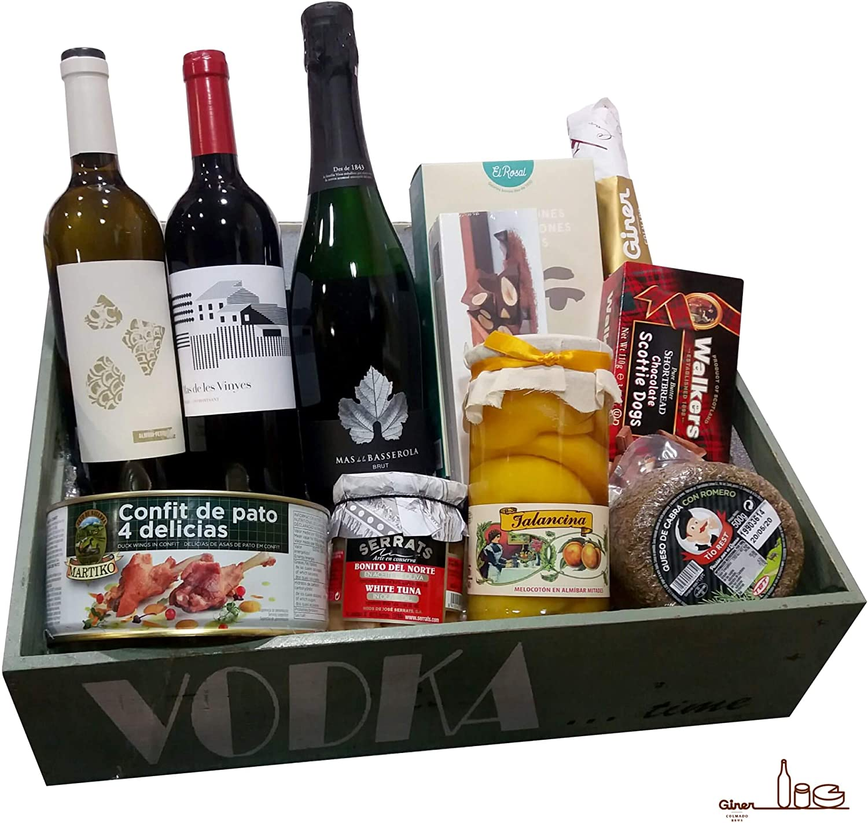 Lote Gourmet - Lote Navidad GOURMET - Bonita caja de madera con tapa - Gran Selección de productos premium - By Colmado Giner: Amazon.es: Alimentación y bebidas