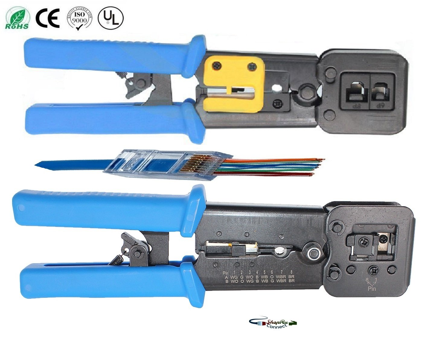 Ez Rj Professional Heavy Duty Crimp Tool Rj45 Pro Ethernet Plug Wiring Cutter For 45 Rj12 Rj11 Connector Hd Crimping With Wire Cable Stripper