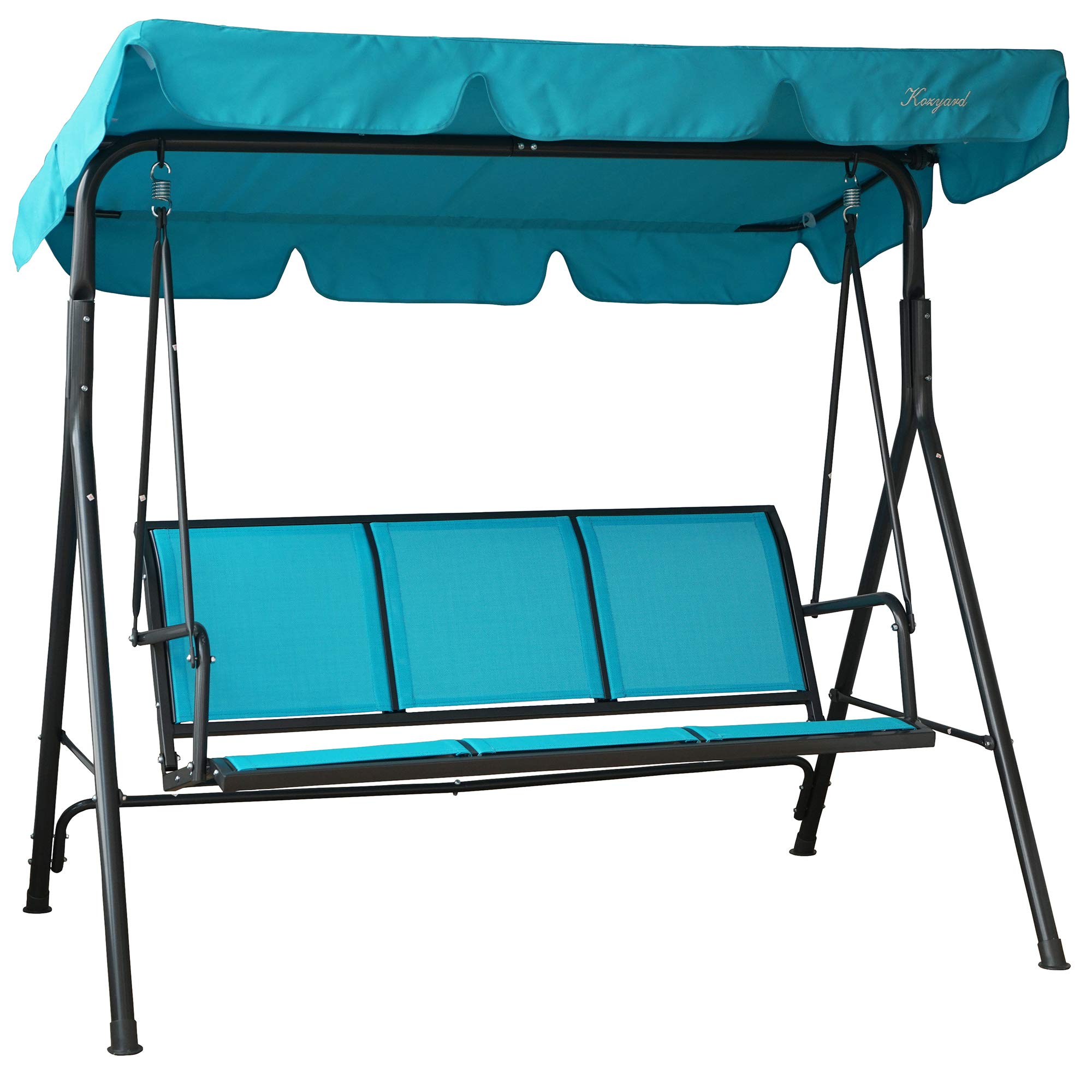 Kozyard Belle 3 Person Outdoor Patio Swing with Strong Weather Resistant Powder Coated Steel Frame and Textilence Seats by Kozyard