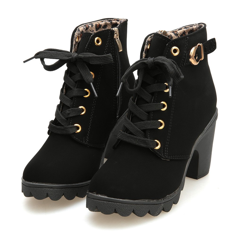 Amazon.com: SMALLE ◕‿◕ Women Lace-Up High Thick Short Boots Shoes Leisure Ankle Boots High-Heel Boots: Clothing