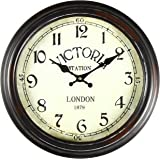 "Adeco CK0022 14""~15"" Black & Brown Antique-Look Dial Decorative Vintage Retro Traditional Wall Hanging ""Victoria Station"" Circle Iron Clock, Arabic Arab, Brown"