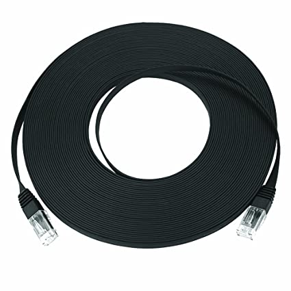 "Super Flat CAT5e Ethernet Cable, Black, 25 Feet, 0.08"" ..."