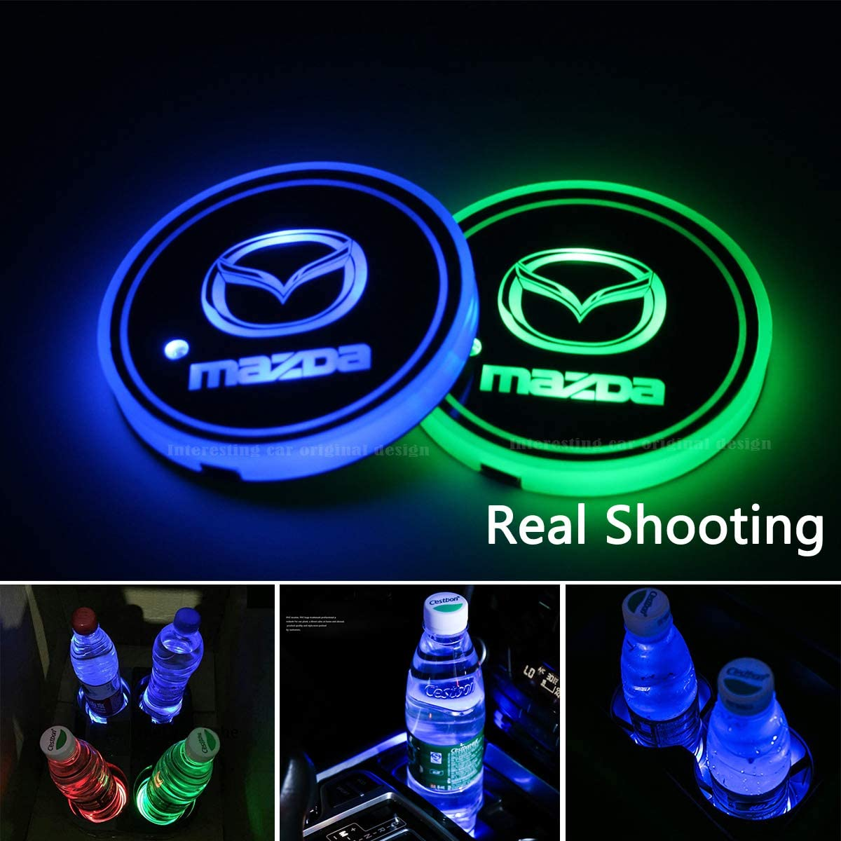 2pcs LED Car Cup Holder Lights for Mazda, 7 Colors Changing USB Charging Mat Luminescent Cup Pad, LED Interior Atmosphere Lamp