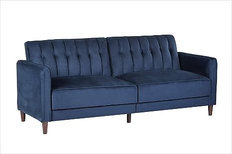 Container Furniture Direct SB-9029 Anastasia Mid Century Modern Velvet  Tufted Convertible Sleeper Sofa, 81\