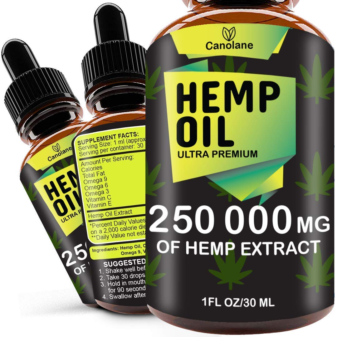 Hemp Oil Drops, 250 000 mg, Natural CO2 Extracted, 100% Organic, Pain, Stress, Anxiety Relief, Reduce Insomnia, Vegan Friendly, Zero CBD, Zero THC by Hemp-Health