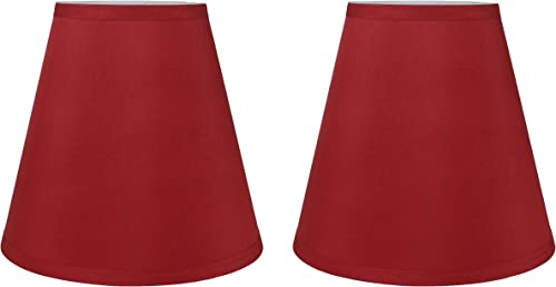 Urbanest Mushroom Unleated Hardback Lamp Shade 5x9x8.5 Inch Spider Red, Set of 2