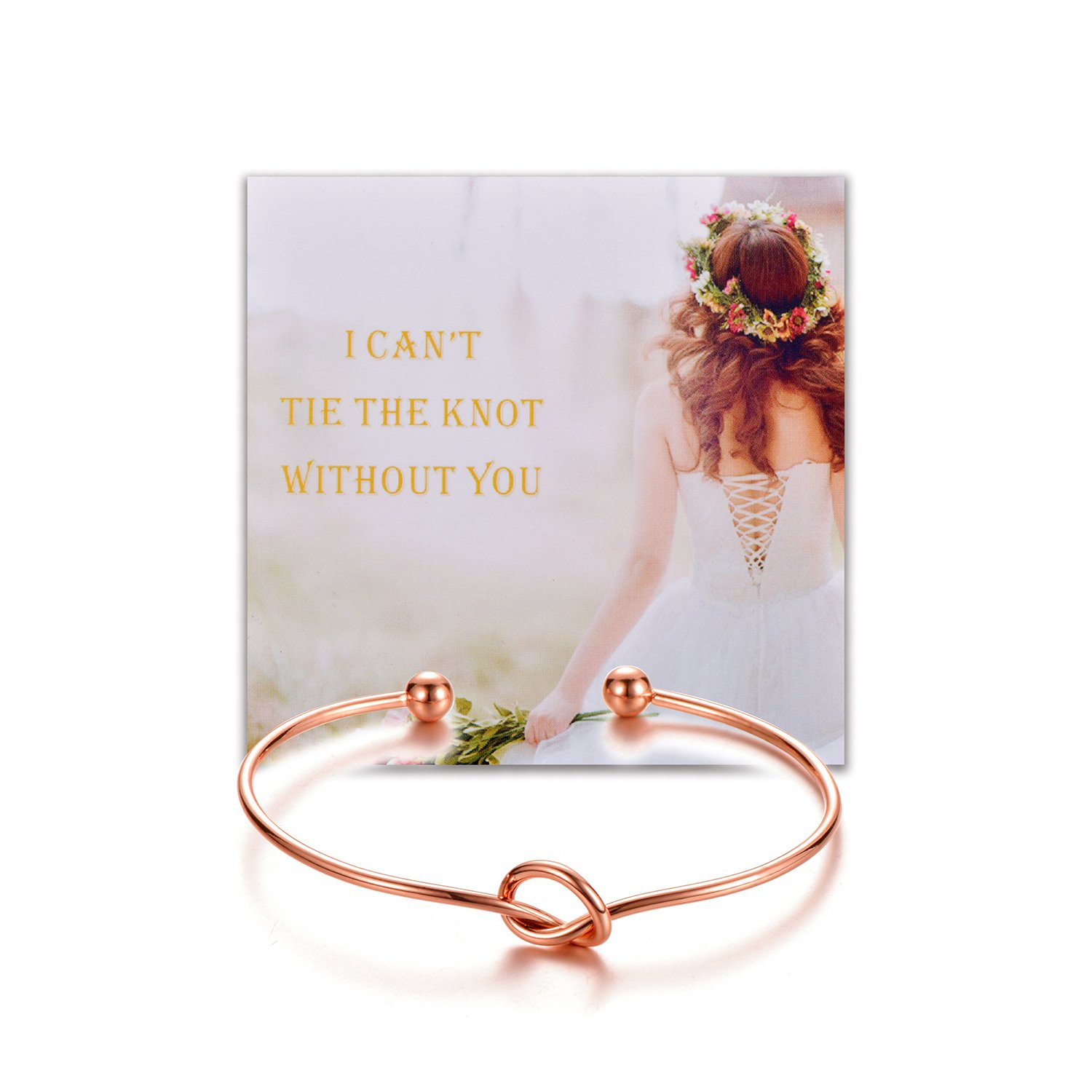 Bridesmaid Gifts Love Knot Bracelets With Warmth Card Gift Rose Gold Tone For Friend Sister Family (6)