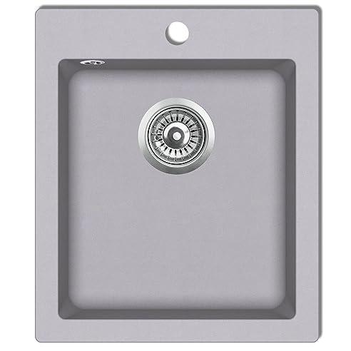 Spülbecken granit grau  vidaXL Granitspüle Küchenspüle Einbauspüle Spültisch 42,5 cm ...