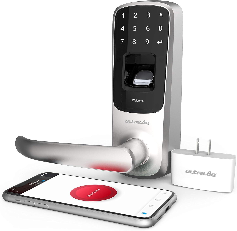 ULTRALOQ UL3 BT 2nd Gen Smart Lock + WiFi Bridge 5-in-1 Keyless Entry Electronic Door Handle, Satin Nickel