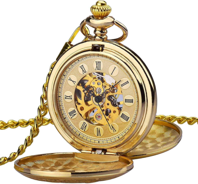 Reloj de Bolsillo Zeiger Reloj Steampunk Reloj Hombre mecanica esquelético Doble Retro Reloj Colgante Pocket