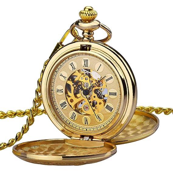 Reloj de bolsillo Zeiger Reloj Steampunk Reloj Hombre mecanica doble retro reloj colgante estilo de cobre del reloj de bolsillo esquelético mecánico Dore un ...