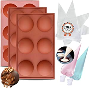 Semi Sphere Silicone Mold 6 Holes Silicone Baking Molds for Making Hot Chocolote Bombs, Cocoa Bombs, Cake, Jelly, Pudding, Handmade Soap,Round Shape Non Stick Cupcake Baking Pan with FREE Piping Bags