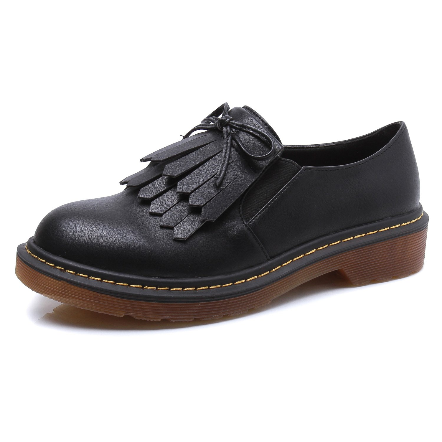 Smilun Lady¡¯s Western Low Heel Shoes Classic Tassel Flats Round Toe B01M1BSP0G 6 B(M) US|Black