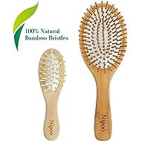 Nipoo Brosse à cheveux en bois naturel + Mini brosse de voyage économique Eco-Friendly Bambou Borste Deadangling Paddel pour femmes hommes et enfants – Réduction des frisottis et des massages