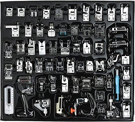 Professional 62pcs Sewing Machine Presser Feet Set for Brother Singer White
