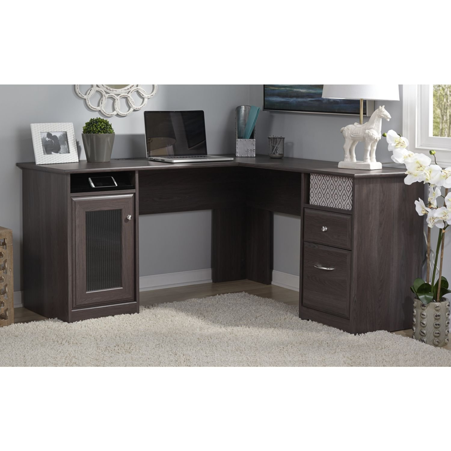 amazoncom bush furniture cabot collection 60w l desk in heather gray kitchen dining bush home office furniture