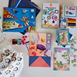 Box For Monkeys, Premium Kids Activity Pack, School Holiday Activities, Home or Travel Bundle for 6-9 Year Old, How to Draw kit, Puzzle, Paper Planes, Origami kit and Colourful Clay.