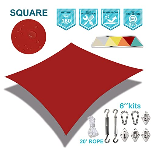 Coarbor Waterproof 5 x5 Customized Sun Shade Sail Canopy Came with Hardware Kit Square UV Block Polyester for Pergola Carport Awning Patio Yard- Make to Order-Red