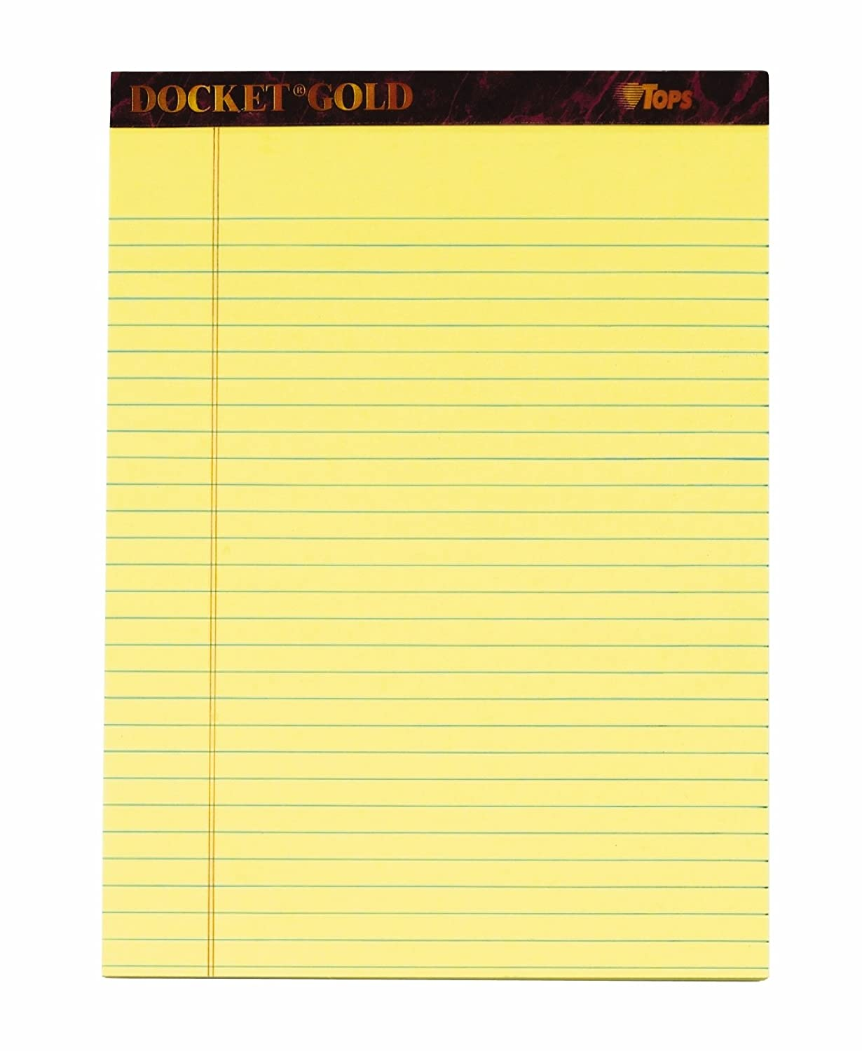 tops Docket Gold writing tablet, 8 – 1/2 x 11 – 3/10,2 cm, perforato, Canary, Legal/Wide Rule, 50 fogli per blocco, 6 per Pack (63956) 8 - 1/2 x 11 - 3/10 TOPS Business Forms Inc.