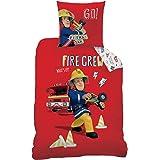 CTI 044710 Housse de Couette Sam Le Pompier Fire Crew Enfant Coton Rouge 200 x 140 cm + Taie 63 x 63 cm