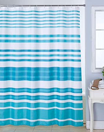 Bianca Waterproof Printed Polyester Blend Shower Curtain With 12