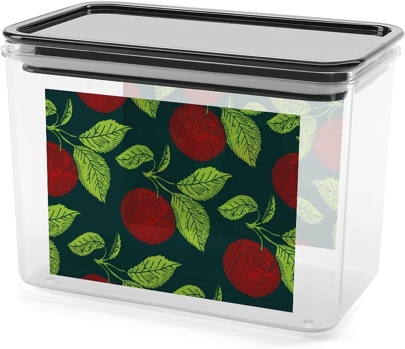 Retro Apple Pattern Airtight Food Storage Containers Plastic Kitchen Storage Containers for Bulk Food Flour Sugar and Baking Supplies