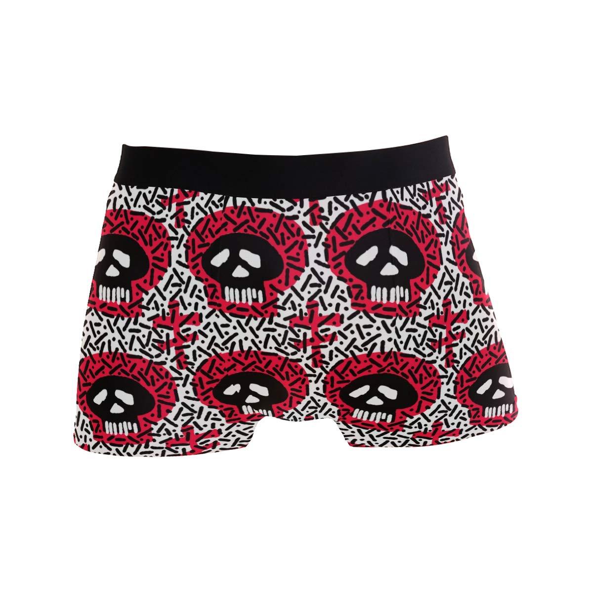 Punk Gothic Skull Head Mens Underwear Soft Polyester Boxer Brief for Men Adult Teen Children Kids S